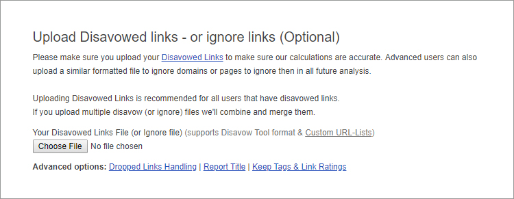 Upload Disavowed links