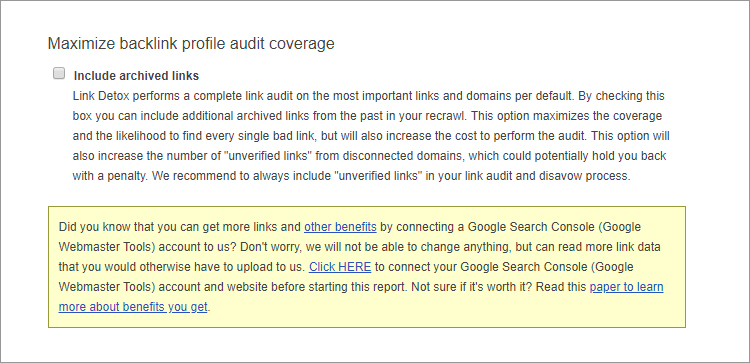 Maximum Backlink Profile Audit Coverage